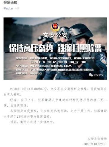 河北文安嫌疑人投案自首 致3死1伤
