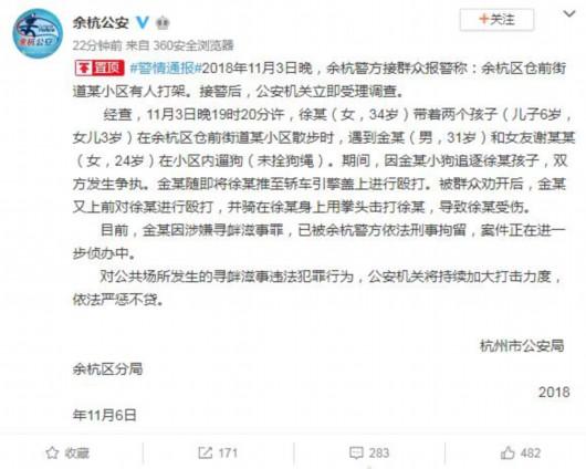 杭州狗主人被刑拘 涉嫌寻衅滋事罪