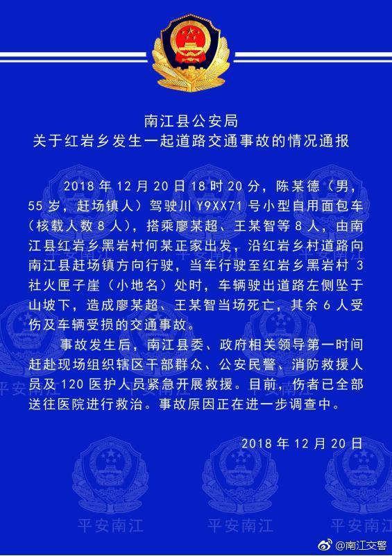 四川南江一面包车坠下山坡 2死6伤