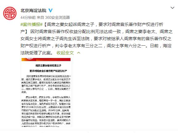 阎肃妻女起诉阎肃儿子 要求对著作财产权析产重新分配