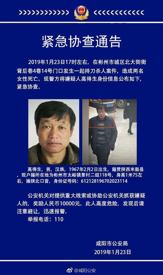 咸阳持刀杀人案件 杀害2名女性警方悬赏缉拿