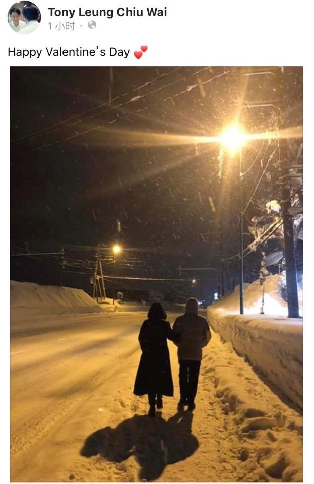 梁朝伟罕见秀恩爱 情人节与刘嘉玲挽手雪中漫步超温馨