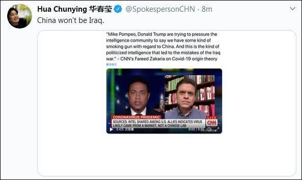 华春莹发推称中国不会成为伊拉克