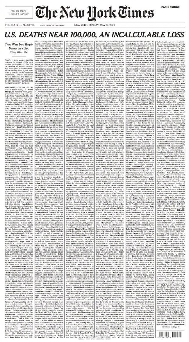 纽约时报提前公布次日头版 《美国接近10万人死亡,无法计算的损失》