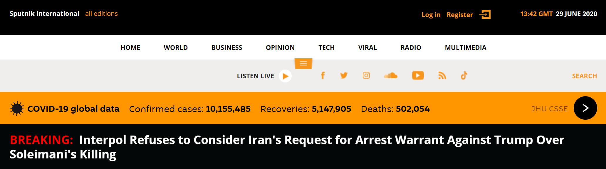 国际刑警组织拒绝协助逮捕特朗普