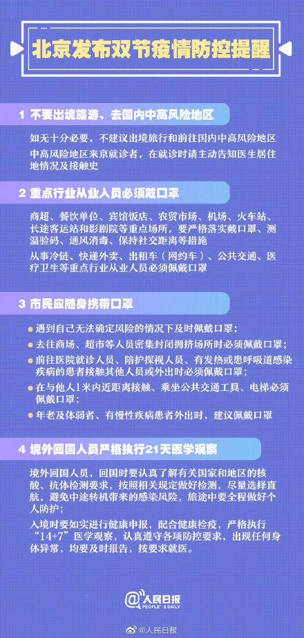 北京发布双节疫情防控提醒 4种情况必须戴口